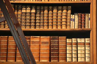 Historische Bände im Regal im Prunksaal der Österreichischen Nationalbibliothek