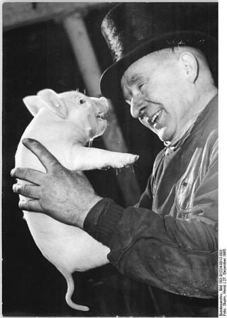 Schornsteinfeger mit Schwein