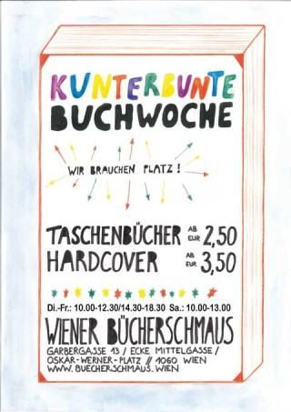 Plakat Kunterbunte Buchwoche in der Buchhandlung des Wiener Buecherschmaus