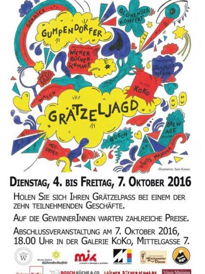 Plakat Gumpendorfer Grätzeljagd von Sara Kaiser