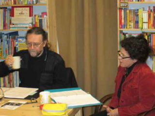 Regina Adler und Andre Blau on air im Wiener Bücherschmaus