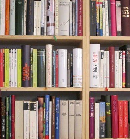 Bücherspende - ein Regal mit gespendeten Büchern