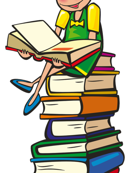 Zeichnung mit einem lesenden Mädchen auf einen Bücherstapel