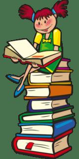 Bücherbörse: Ein lesendes Mädchen auf einem Bücherstapel