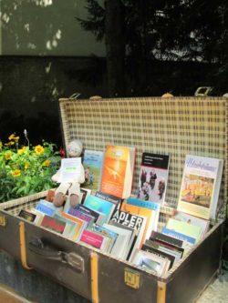 Leseförderung mit einem Bücherkoffer im Park