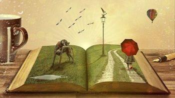 Leselust pur. Auf dem aufgeblätterten Buch ist eine Dreidinsonale Landschaft zu sehen.