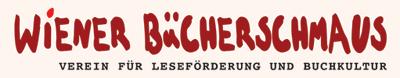 Das Logo zeigt den Schriftzug Wiener Bücherschmaus in rot, darunter kleiner und in schwarz Verein für Leseförderung und Buchkultur